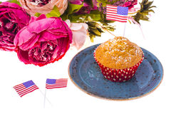 Variety of swiit  desserts on the table for July 4th party. Whit Royalty Free Stock Image