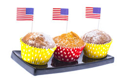 Variety of swiit  desserts on the table for July 4th party. Whit Stock Images