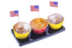Variety of swiit  desserts on the table for July 4th party. Whit Royalty Free Stock Images