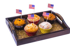 Variety of swiit  desserts on the table for July 4th party. Whit Stock Image
