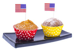 Variety of swiit  desserts on the table for July 4th party. Whit. E background. Studio Photor Royalty Free Stock Images