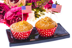 Variety of swiit  desserts on the table for July 4th party. Whit. E background. Studio Photor Royalty Free Stock Photo