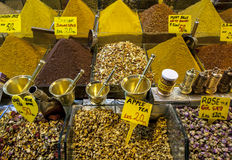 A variety of tea and spices on display at the Spice Bazaar in Istanbul in Turkey. Royalty Free Stock Image