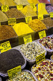 A variety of tea and spices on display at the Spice Bazaar in Istanbul in Turkey. Royalty Free Stock Images