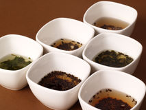 A variety of teas. In white pots on a brown background Stock Images