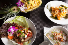 Variety of Thai Food Dishes Royalty Free Stock Photos