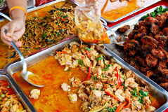 Variety of thai food in market Royalty Free Stock Image
