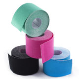 Variety of therapeutic self adhesive tapes, taping kinesiologico Royalty Free Stock Image