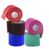 Variety of therapeutic self adhesive tapes, taping kinesiologico Royalty Free Stock Photography