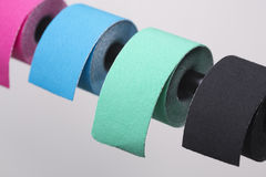 Variety of therapeutic self adhesive tapes, taping kinesiologico Royalty Free Stock Photos