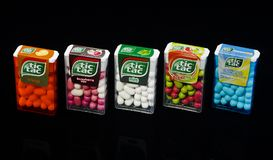 Variety of Tic tac drops isolated on dark background. Stock Image