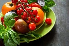 Variety of tomatoes and basil Royalty Free Stock Photos