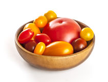 Variety of tomatoes isolated, multicolored tomatoes isolated on white background. Stock Image