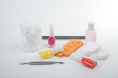 A variety of tools for manicure. The nail care Stock Photography