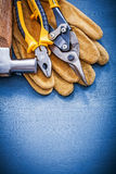 Variety of tools for repairing on wooden board copyspace Stock Images