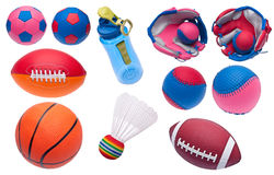 Variety of Toy Sports Objects Royalty Free Stock Image