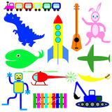 A variety of toys for boys. Educational toys for the comprehensive development of the child Royalty Free Stock Images