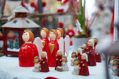 Variety of toys and decorations on traditional Christmas market in Strasbourg Stock Photos