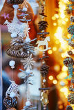 Variety of toys and decorations on traditional Christmas market in Strasbourg Royalty Free Stock Image