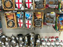 Variety of toys at Jumbo store - ancient helmets and shields. Variety of toys ancient helmets and shields at Jumbo store. Jumbo is the largest retailer of toys Stock Photo