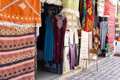 Traditional and Colorful Market in Houmt El Souk in Djerba, Tunisia royalty free stock images