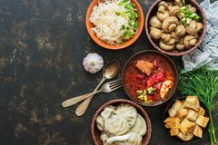A variety of traditional Russian dishes-borscht,sauerkraut,pickled mushrooms,dumplings. Russian dishes on dark rustic background,