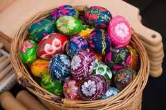 Painted easter eggs for sale at craft market Royalty Free Stock Image