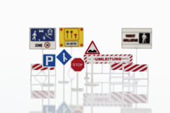 Variety of traffic signs on white background Royalty Free Stock Photo