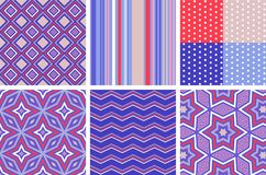 Variety of trendy seamless vector patterns in red, blue and white color scheme. Royalty Free Stock Photography