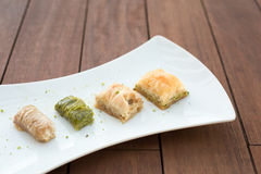 Variety of turkish baklava Stock Photos