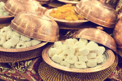 Variety of turkish delight and dried fruit Stock Images