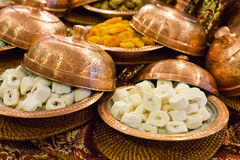 Variety of turkish delight and dried fruit Royalty Free Stock Photo