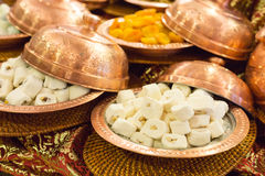 Variety of turkish delight and dried fruit Royalty Free Stock Photography
