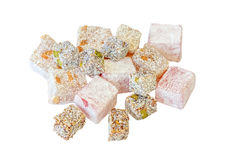 Variety of Turkish Delight isolated Stock Images