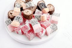 Variety of Turkish Delight Lokum Sweet Turkish delight lokum Traditional dessert White background Royalty Free Stock Image