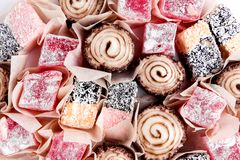 Variety of Turkish Delight Lokum Sweet Turkish delight lokum Traditional dessert White background Top view Stock Images