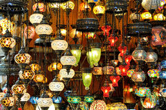 Variety of turkish lamps Royalty Free Stock Photos