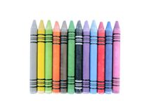 Variety of Multicolored Crayons isolated. Variety of twelve cute retro vintage Multicolored Crayons isolated on white background royalty free stock photography