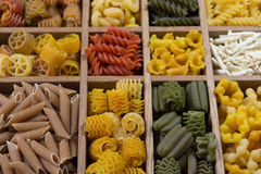 Variety of types, colors and shapes of Italian pasta. Dry pasta stock photo