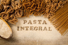 Variety of types and shapes of dry Italian integral pasta Royalty Free Stock Photography