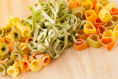 Variety of types and shapes of Italian pasta. Stock Photography