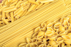 Variety of types and shapes of Italian pasta Royalty Free Stock Image