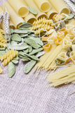 Variety of types and shapes Italian pasta Stock Photo