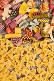 Variety of types and shapes of Italian pasta. royalty free stock images