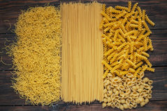 Variety of types and shapes Italian pasta. Dry pasta background Royalty Free Stock Photo