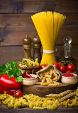 Variety of uncooked pasta Royalty Free Stock Image