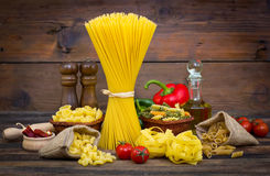 Variety of uncooked pasta Stock Photos