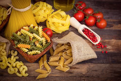 Variety of uncooked pasta Stock Images
