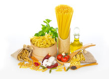 Variety of uncooked pasta Stock Photography