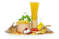 Variety of uncooked pasta Stock Photo